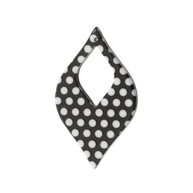 *DB-1106-0534-01 - Pendentif Resine Losange Anneau 30X49MM Noir Points Blancs 10pcs *DB-1106-0534-01,Pendentifs,Résine,Pendentif,Resin,30X49MM,Losange,Anneau,Noir,Noir,White Dots,Chine,Dollar Bead,10pcs,montreal, quebec, canada, beads, wholesale